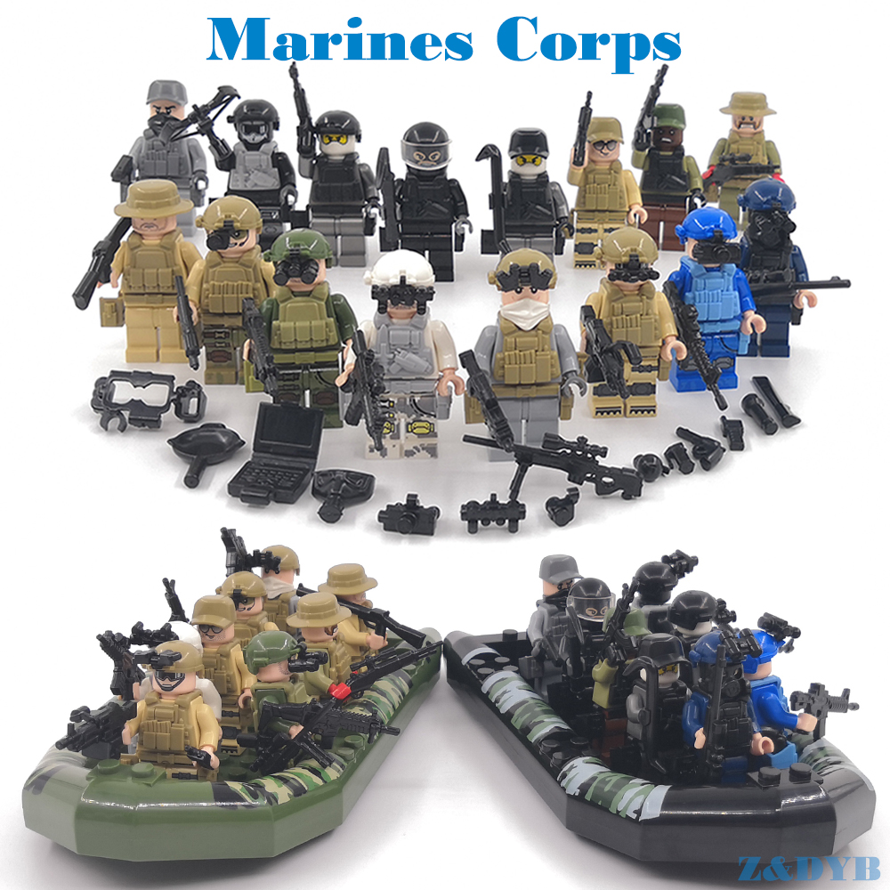 56PCS Marines Soldiers Assault Boat Military Sets Army Figures Weapon Gun SWAT War Building Block Brick Legoed Toys For Children