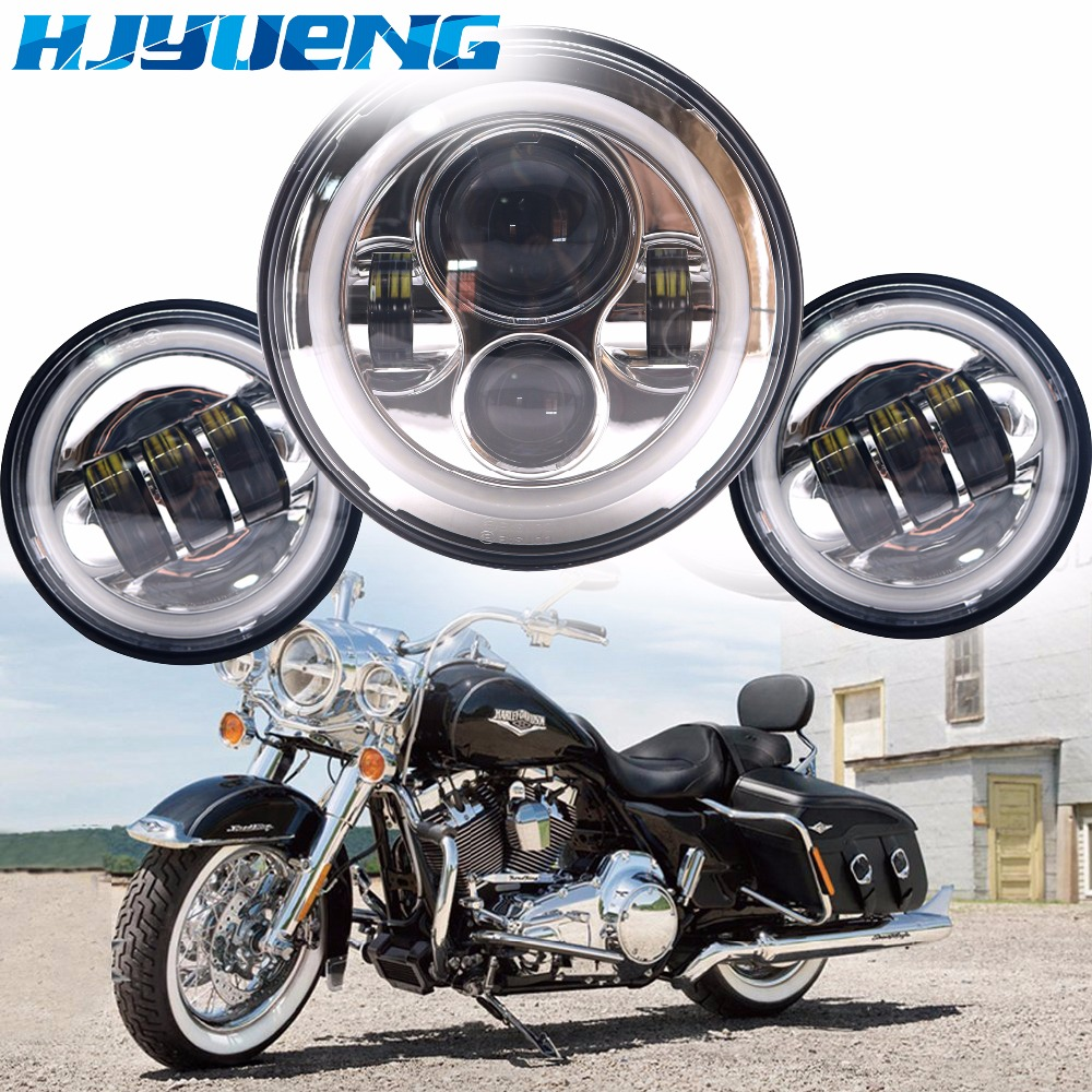 60w 7inch Led Headlights White Halo Angel Eye+2pcs 4.5Inch Fog Lights For 66 Touring Electra Glide Road