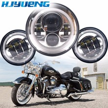 "60w 7inch Led Headlights White Halo Angel Eye+2pcs 4.5""Inch Led Fog Lights Halo For 66 Touring Electra Glide Road"