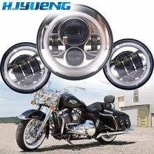 """60w 7inch Led Scheinwerfer Weiß Halo Engel Auge + 2 stücke 4.5 """"Zoll Led Nebel Lichter Halo für 66 Touring Electra Glide Road"""