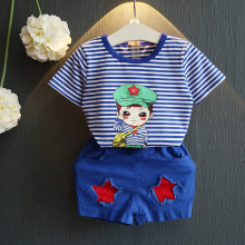 New Boys Summer Set Girls Stripe Set Two-piece Set Children Army Uniform Style Cotton Thin Cartoon Baby Set,2-7Y