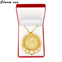 Novelty souvenirs necklace pendant rose MEDALS.Medallion Medal with acrylic color rose velvet box for happy 60th anniversary