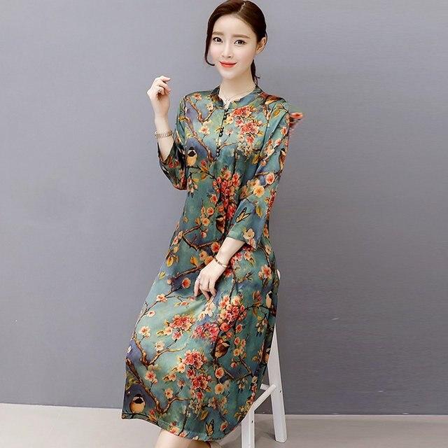 Online Shop Mferlier Faux Silk Autumn Dress Women O Neck Vintage
