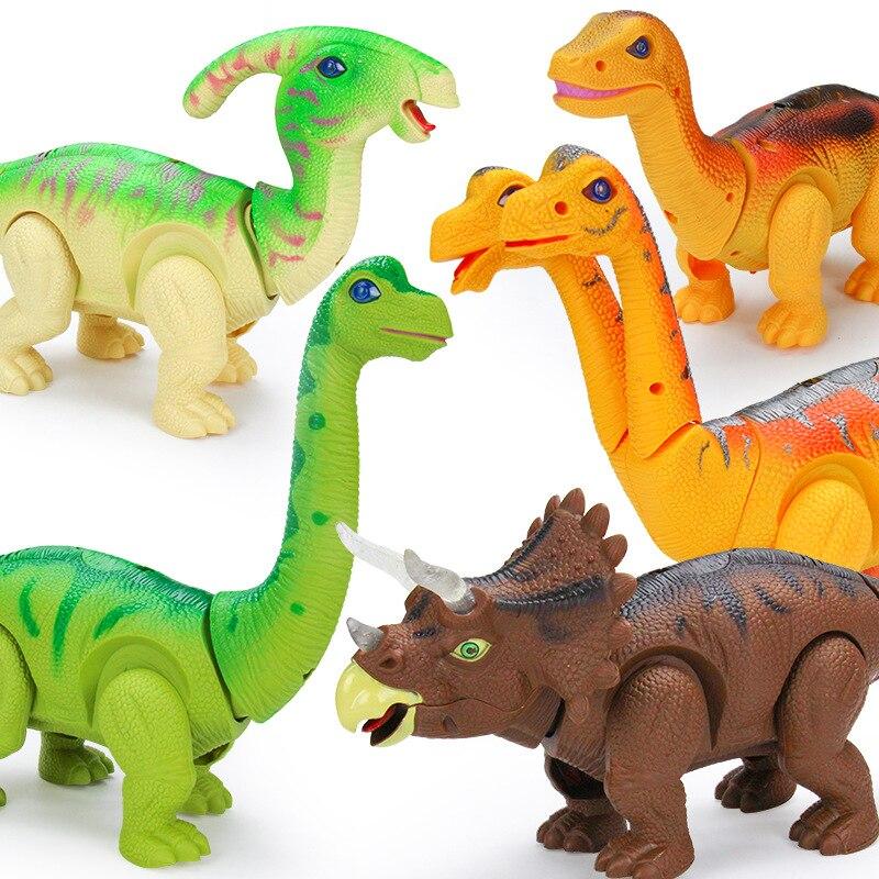 Light Up Lumineux En Plastique Modèle jouet amusant marche Électrique dinosaure robot Modèle Roaring jouets interactifs Cadeau pour Enfants Garçons