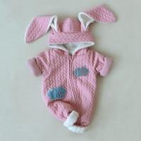 Baby Girls Rompers Bodysuit New Born Rabbit Ear Cute Style Hooded Zipper Cloud Thick Fleece Costume