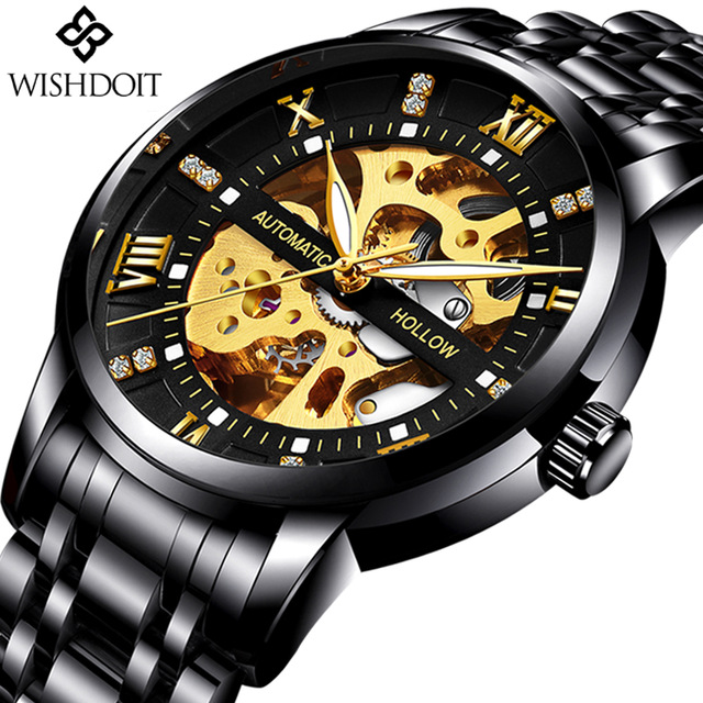 WISHDOIT Automatic Mechanical Skeleton Mens Watches Luxury Fashion Business Watch Men Sport Waterproof Clock Relogio Masculino