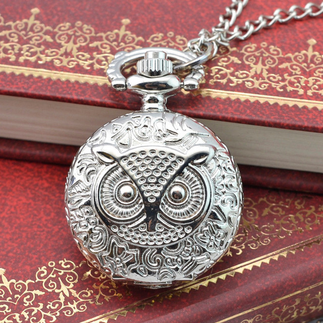 Silver Bronze Owl's watch relogio de bolso Vintage Steampunk Retro Design Pocket