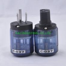 2 Pairs Audio AMP US AC Power Plug IEC Connector Rhodium Plate Transparent Blue C037