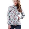 2016 novas mulheres de algodão blusa manga longa impresso flores Camisas Casual magro Floral Blusas Femininas artigo Camisas Roupas