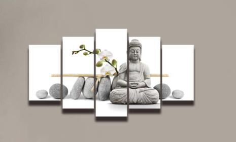 Hot Selling Buddha painted pictures 5 pieces Wall decoration ...