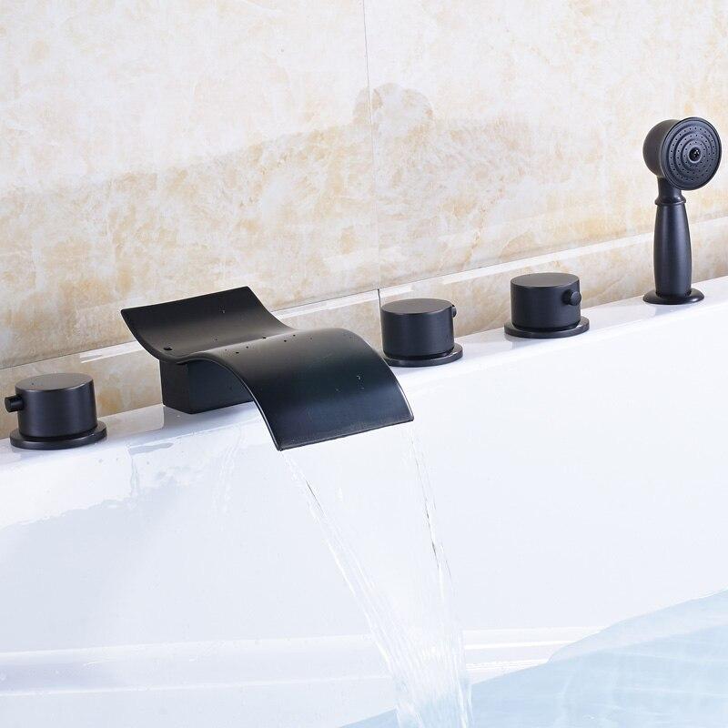 Negro moderno montado cubierta cascada 5 Unid bañera grifo con ducha ...