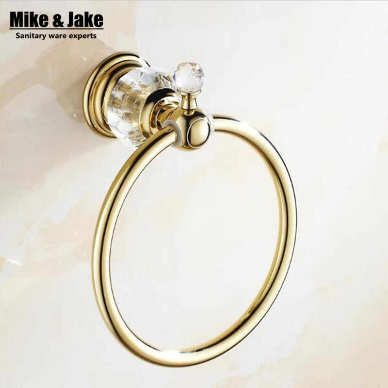Golden bathroom towel ring holder crystal Towel holder Ring,Towel Bar bathroom towel accessories
