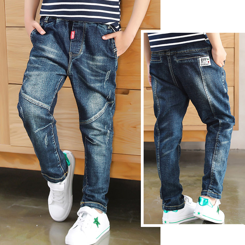 DIIMUU Boys Jeans Pants Trousers Patchwork Baby Denim Kids Teenager Casual Slim Autumn