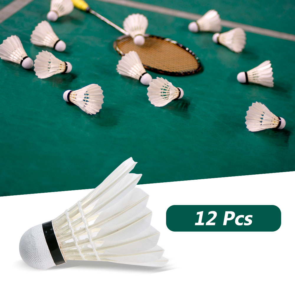 12Pcs/Lot Badminton Shuttlecocks Goose Feather Sports Training Badminton Flying Stably Outdoor Sports Badminton Accessories