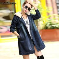 Autumn Winter Korean Denim Jacket Women Slim Long Base Coat Women's Frayed Blue Hooded Plus Size Jeans Jackets Coats 5XL 4XL 3XL