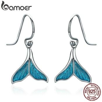 BAMOER Authentic 925 Sterling Silver Ocean Sea Whale's Tail Mermai Drop Earrings for Women Jewelry SCE065 - discount item  35% OFF Fine Jewelry