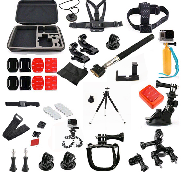 Kit For Go Pro accessories set package for GoPro HD Hero 4 3+ 3 2 Drop Shipping For SJ4000 SJ5000 ri 008 activity connection chain accessories for gopro hero 4 3 3