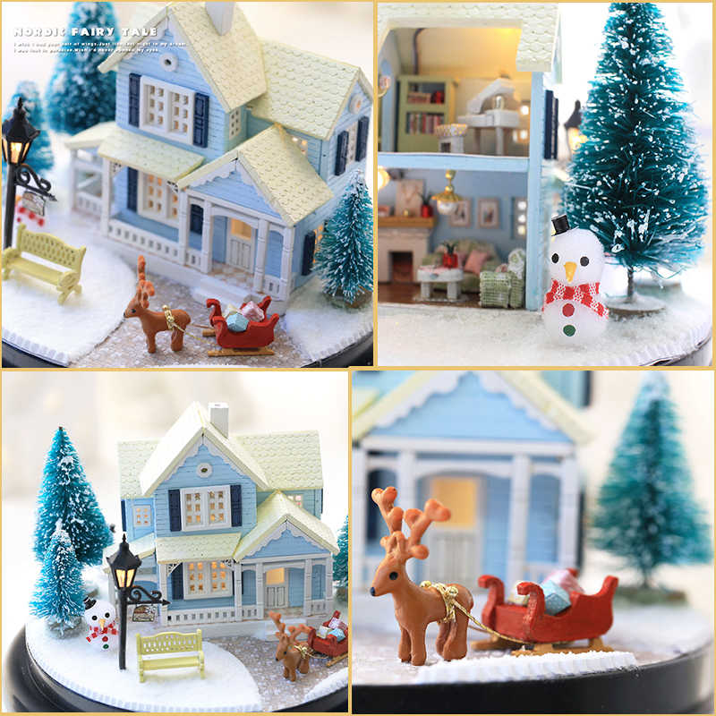 Cutebee Rumah DIY Miniatur dengan Furnitur LED Musik Debu Cover Model Blok Bangunan Mainan untuk Anak Ideas B025