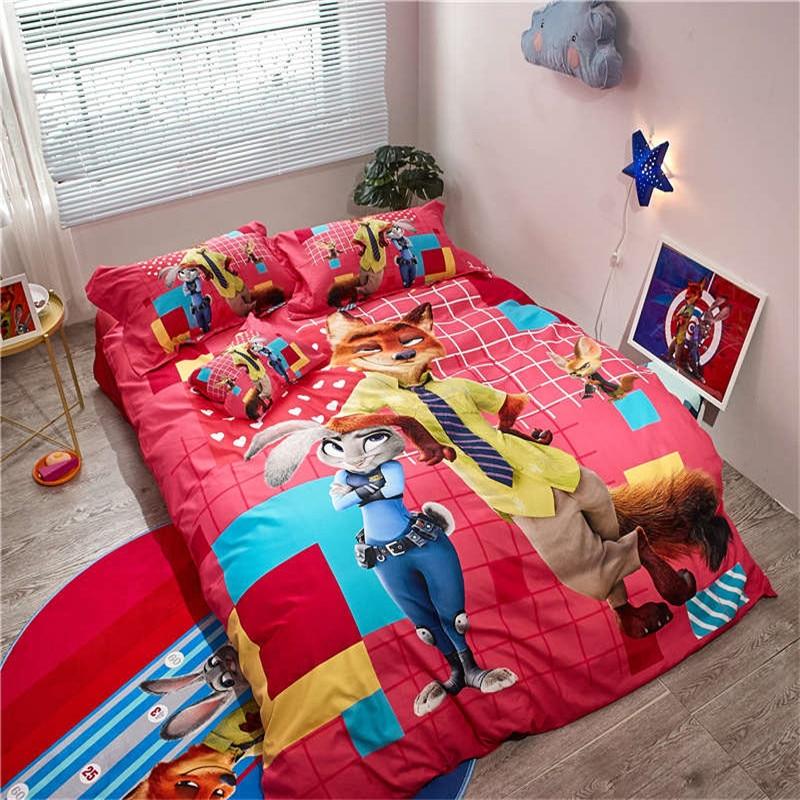 cartoon bedding set disney Zootopia girl boy children bed linens 100% cotton red duvet/quilt cover set twin queen size bed sheet