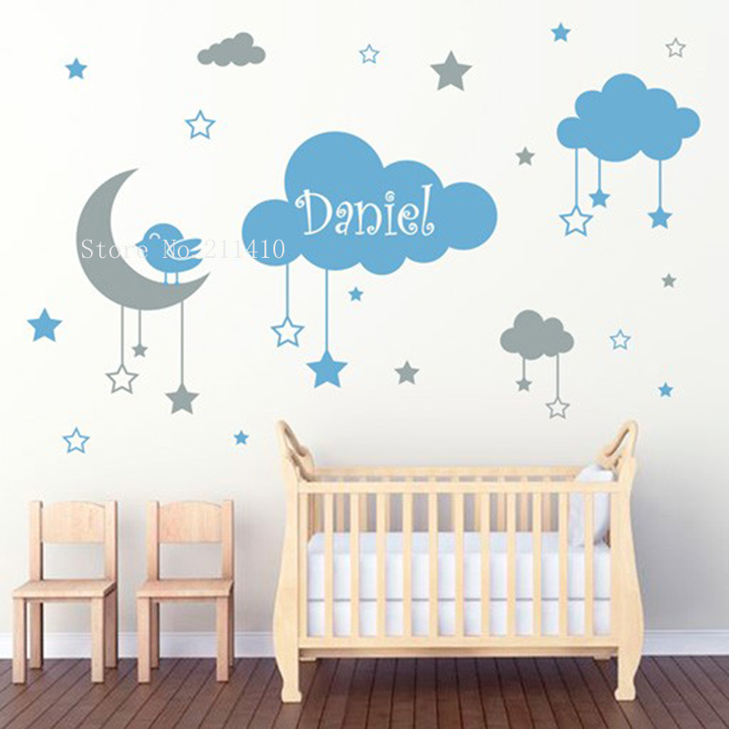 Two Colors Kids Lovely Wall Sticker Hanging Clouds Stars And A Moon With A Little Bird Decor Baby Nursery Removable Decals YT820
