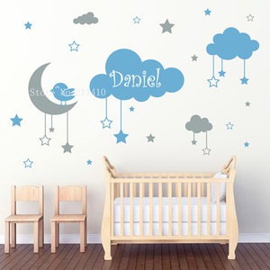 Two Colors Kids Lovely Wall Sticker Hanging Clouds Stars and a Moon With a Little Bird Decor Baby Nursery Removable Decals YT820(China)