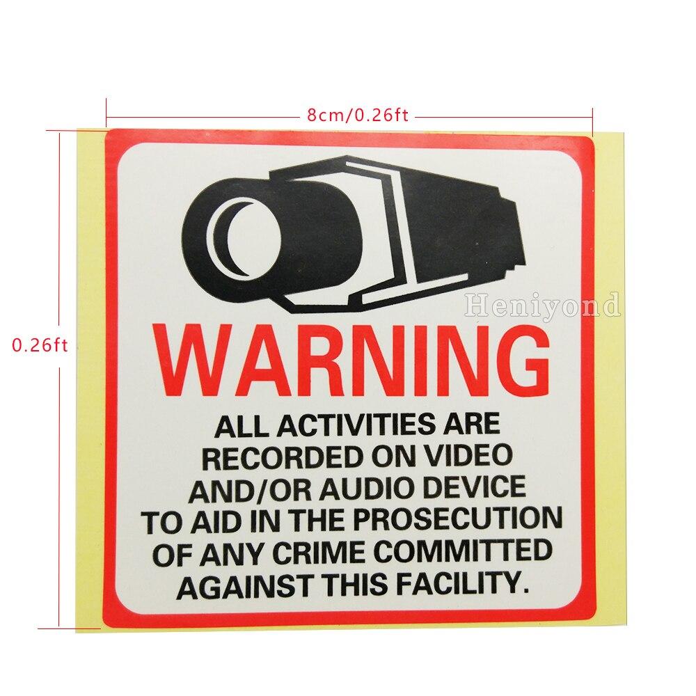 4 шт. Предупреждение знак Стикеры 80 мм x 80 мм защиты Премиум видеонаблюдения Стикеры Камера Системы видео безопасности наклейки отвечал ...