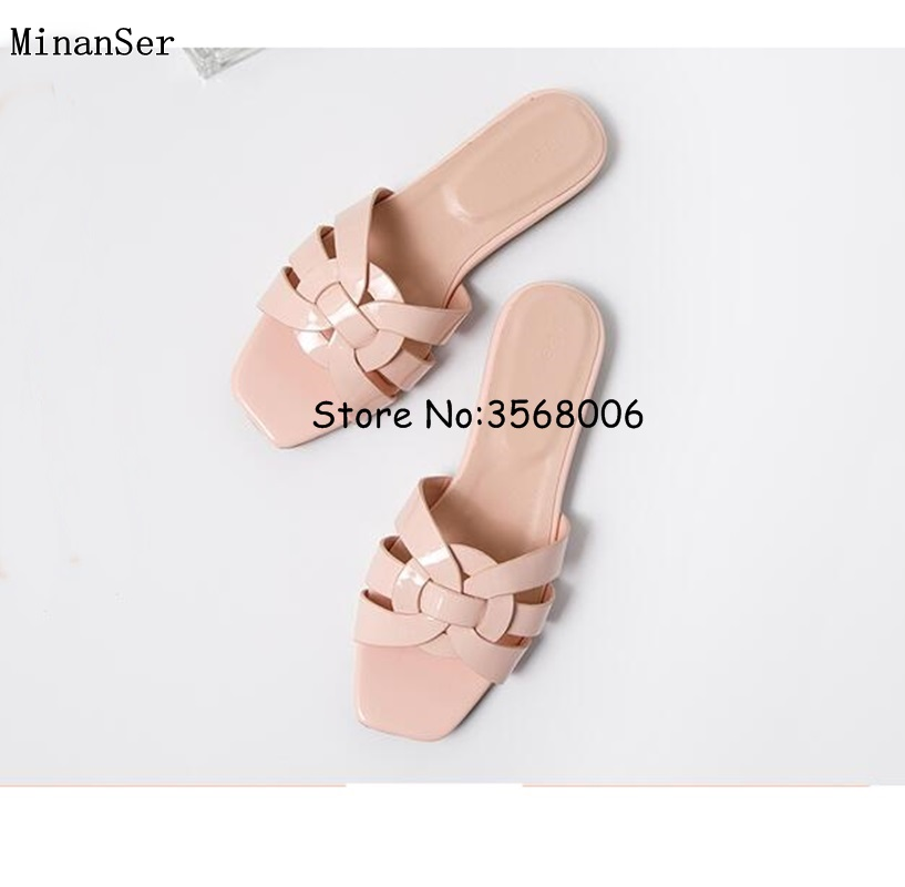 Genuine Leather Yellow Black Shinny Patent Woman Flats Slippers Shoes Casual Outdoor Lady Slides Shoes Summer