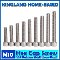 M10 DIN912 Hexagon Socket Head Cap Machine Screws Allen Metric 304 Stainless Steel Bolt HEX Socket