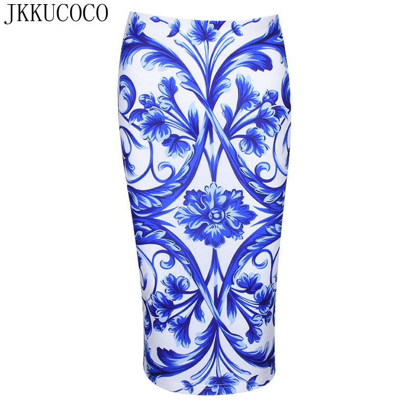 JKKUCOCO Top Hot Chinese Style Blue and white porcelain Print Skirt Women skirts high waist Knee