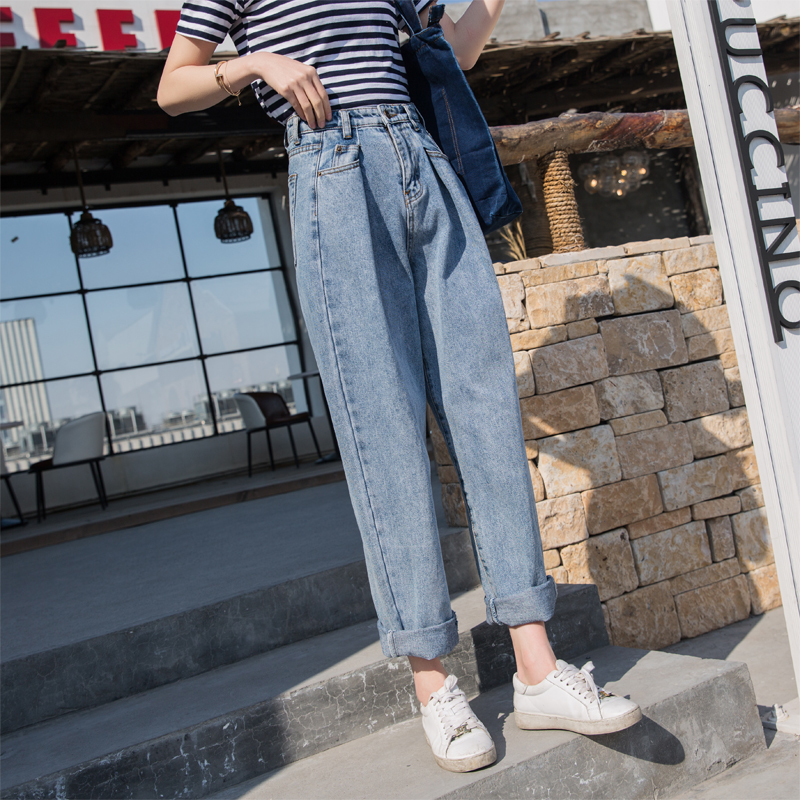 2018 Autumn Long Loose Vintage Woman   Jeans   Mom Bleached Casual Boyfriend Curl Denim Wide Leg Pants Oversize High Waist   Jeans