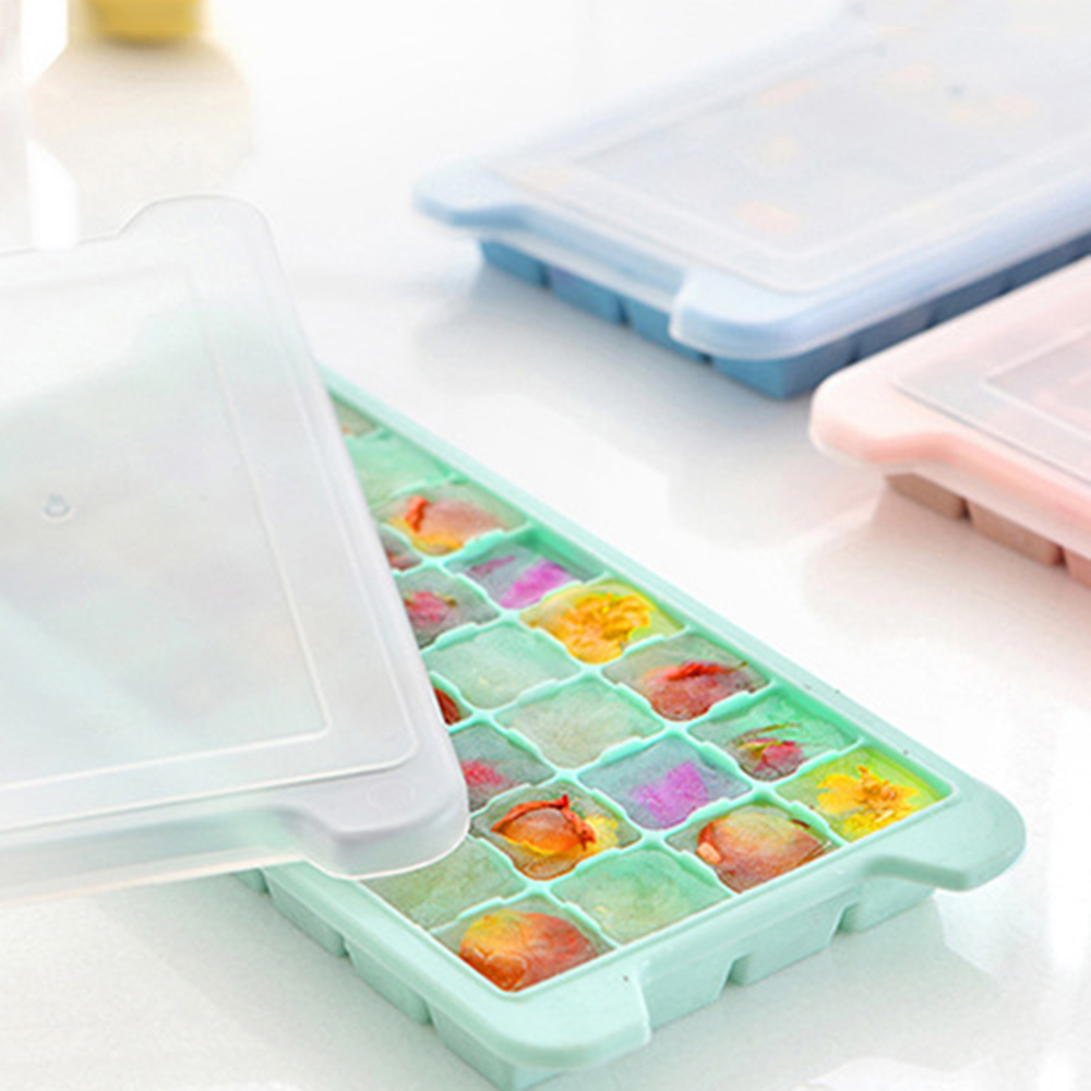 New Creative Home 36 Grid Silicone Ice Cube Ice Cube Mold Ice Box with Transparent Cover Freezer Box(China)