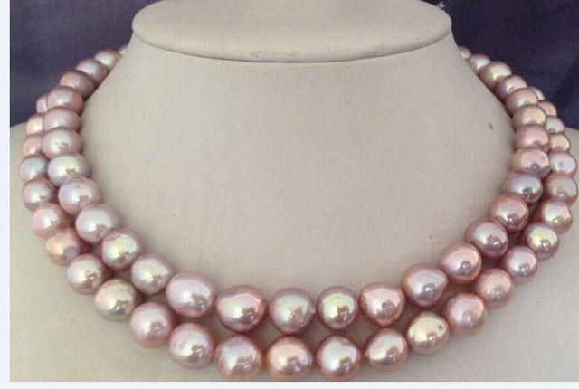 Mulheres palavra Dom de Amor mulheres Moda Jóias 38 polegadas 11-12 MM naturais colar de pérolas de água doce de lavanda