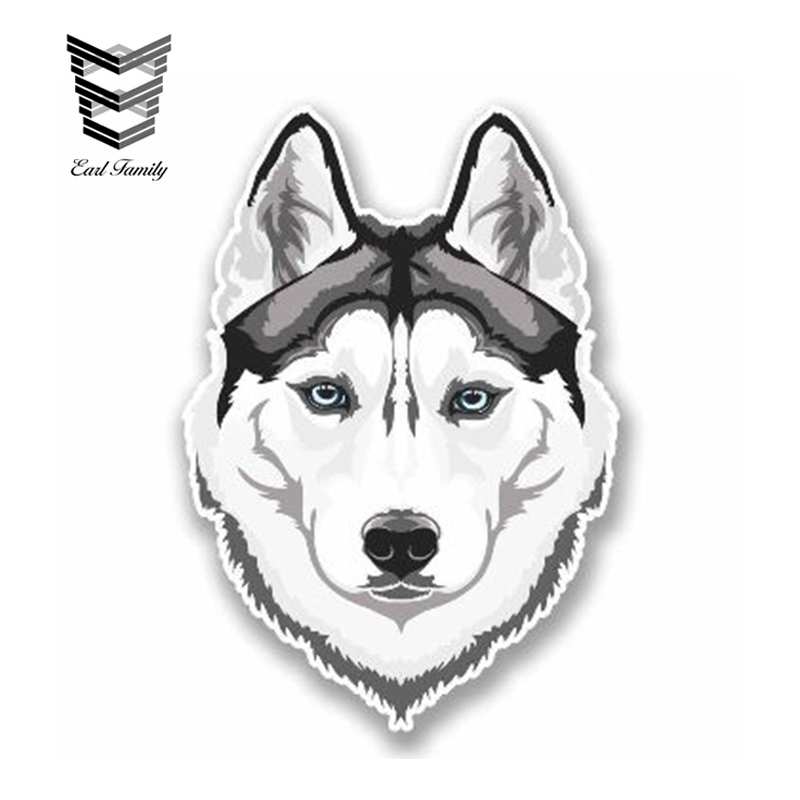 EARLFAMILY 13cm X 10cm Car Sticker White Husky Wolf Vinyl Sticker Laptop Travel Luggage Siberian Husky Car Styling Accessories