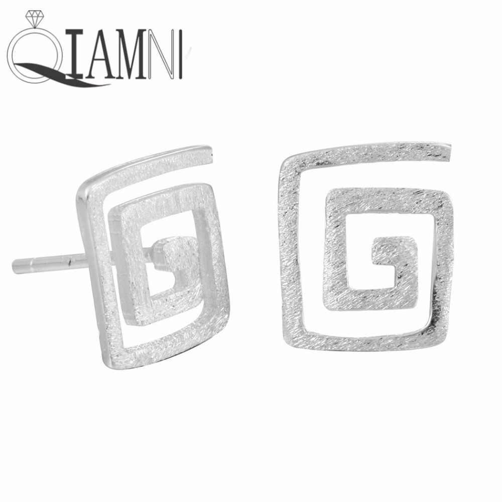Qiamni Geometris Square Labirin Pusaran Air Stud Anting-Anting untuk Wanita Wanita Hadiah Laporan Natal Pendientes