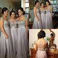El envío gratuito! Fast Ship out Plata/Gris Norma ChiffonLong Vestidos de dama de Honor a-line de la Manga Casquillo robe demoiselle d'honneur