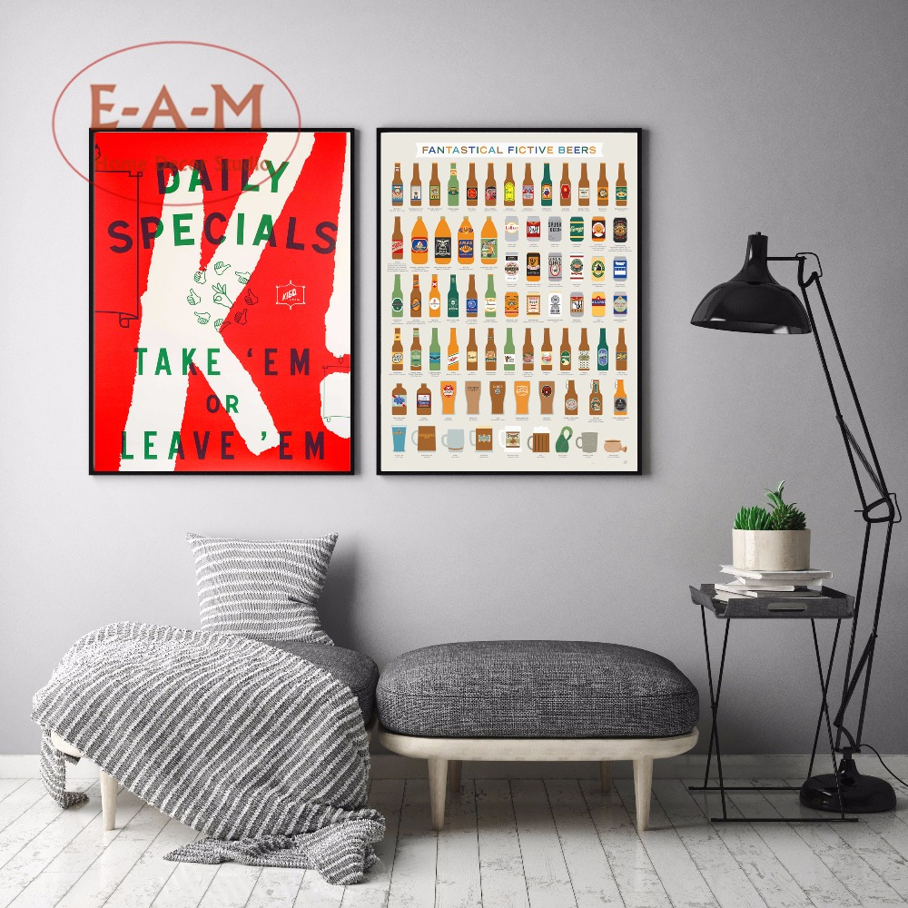Kitchen Beer Chart Quote Canvas Art Print Painting Poster, Wall Pictures For Living Room Home Decoration, Decor No Frame