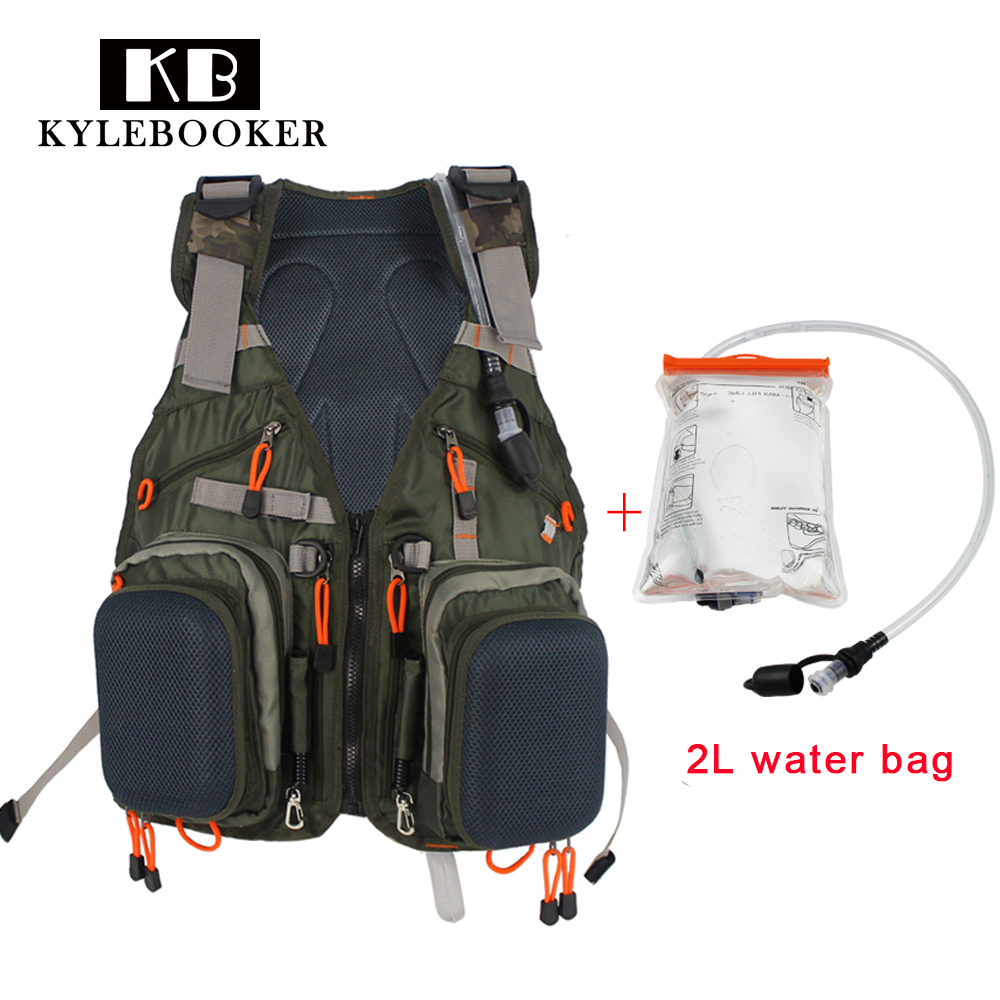 Fly Fishing Vest Pack 2L Water Bag Adjustable Size Fly Fishing Jackets Multifunction Pockets Mesh Fishing