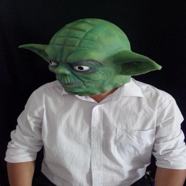 Star Wars Yoda Verde Máscara de Película de Terror Máscaras de Disfraces de Halloween Props Interesante Máscara Fiesta De Cumpleaños de Látex Máscaras de Silicona