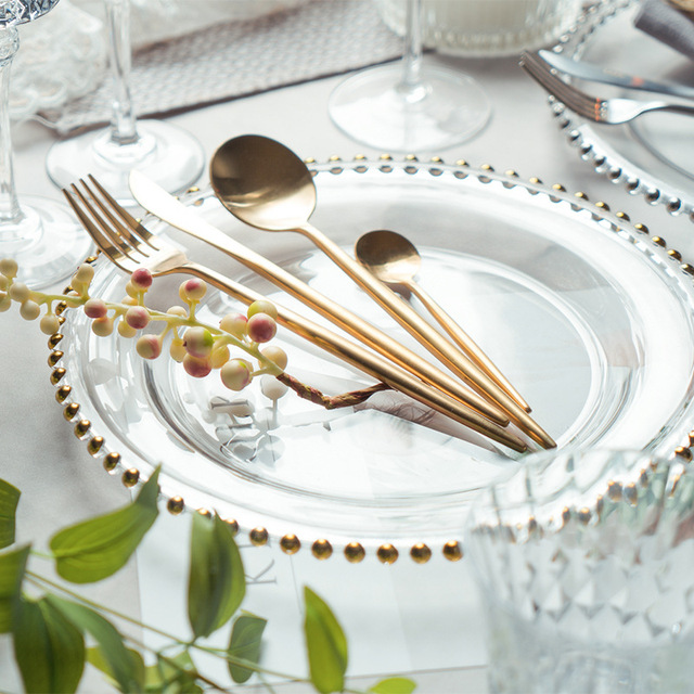Elegant Western Style Steak Cutlery Set Princess Pearl Steak Dinner Flat Plate Glass Dishes Fork Knife & Elegant Western Style Steak Cutlery Set Princess Pearl Steak Dinner ...