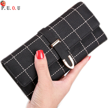 2019 Hot Luxury Wallet Female Leather Women Purse Plaid Ladies Change Card Holder Coin Big Purses For Girls