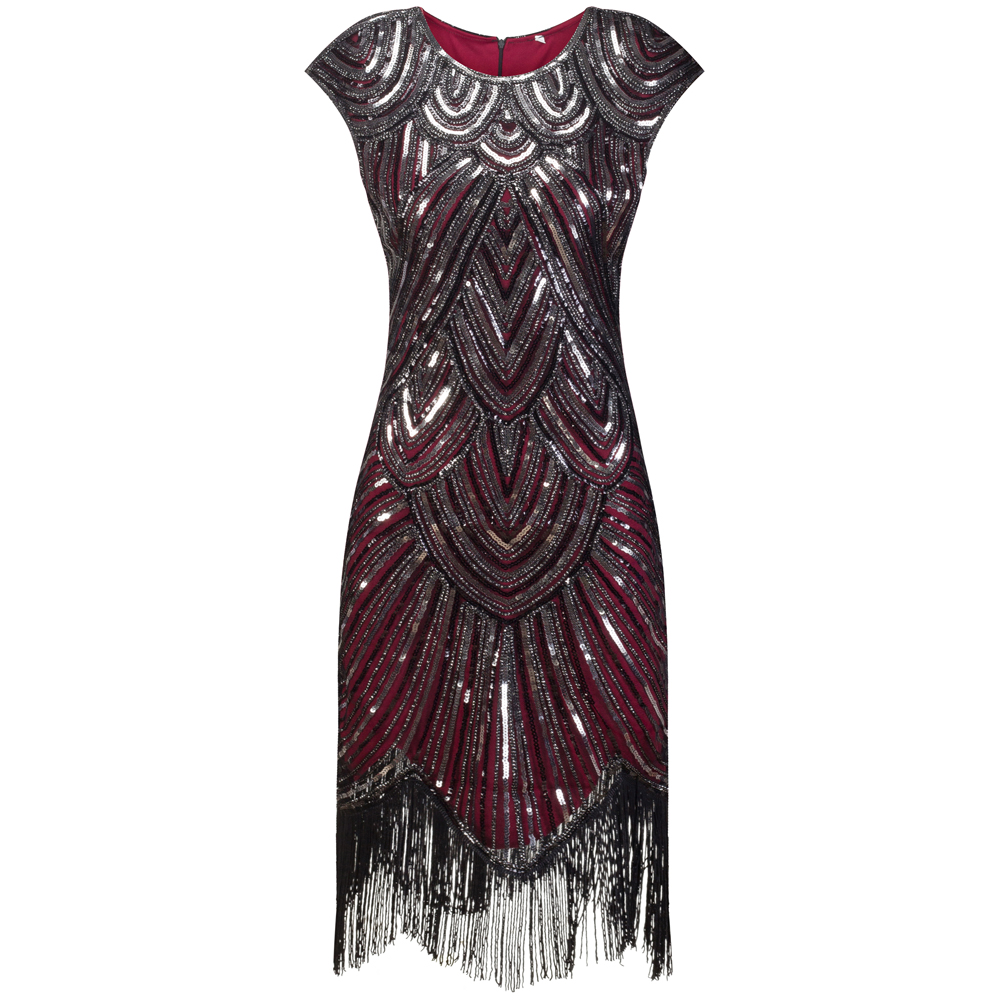 4f20e4f01f4 Aliexpress.com   Buy Vintage 1920s Flapper Great Gatsby Dress O Neck Cap  Sleeve Sequin Fringe Party Midi Dress Vestidos Verano 2018 Summer Dress  from ...
