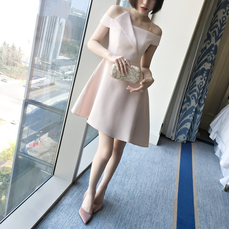 Real Photo In Stok Pink Satin Dress Onepiece Elie Saab Formal Dresses Off The Shoulder A-Line Short Dress Galajurk 0530