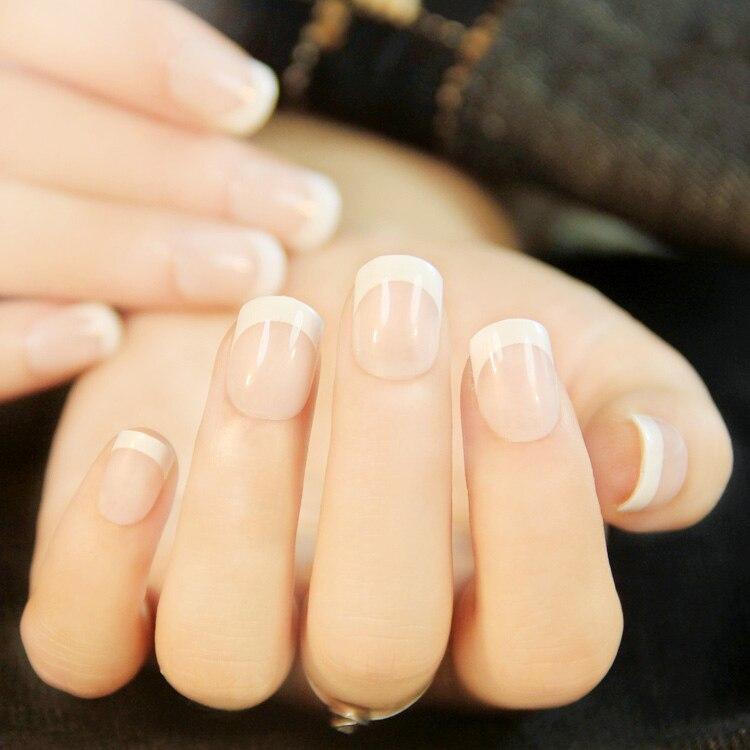 24Pcs Natural French Short False Nails 3 Styles Acrylic Classical ...