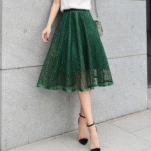 Spring and summer new arrival perspectivity beading gauze skirt elastic high waist bust single tier