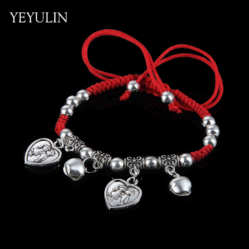 Vintage Style Lucky Red Cord Braided Bracelet Female Alloy Starfish Owl Copper Coins Charms Handmade Bangle Jewelry Gift