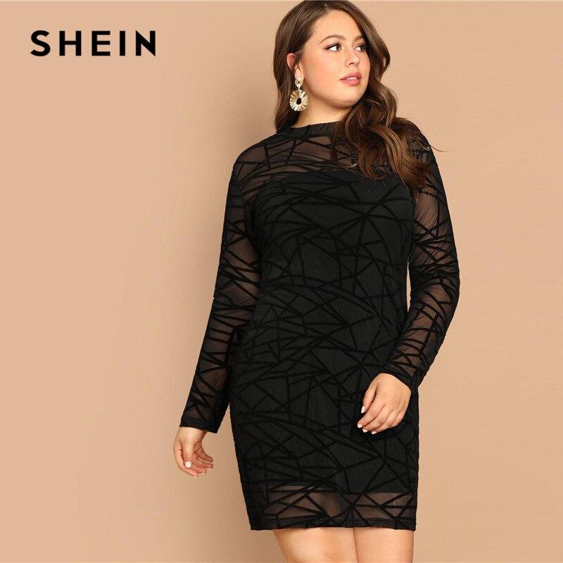 SHEIN negro de malla de manga larga de las mujeres Plus tamaño de la rodilla-longitud vestidos Bodycon 2019 elegante Oficina dama Slim Fit vestido de lápiz