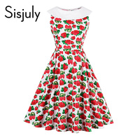 Sisjuly Vintage Dress Strawberry Print Sleeveless Luxury Party Dress Red White Patchwork Summer Female Xxl Knee