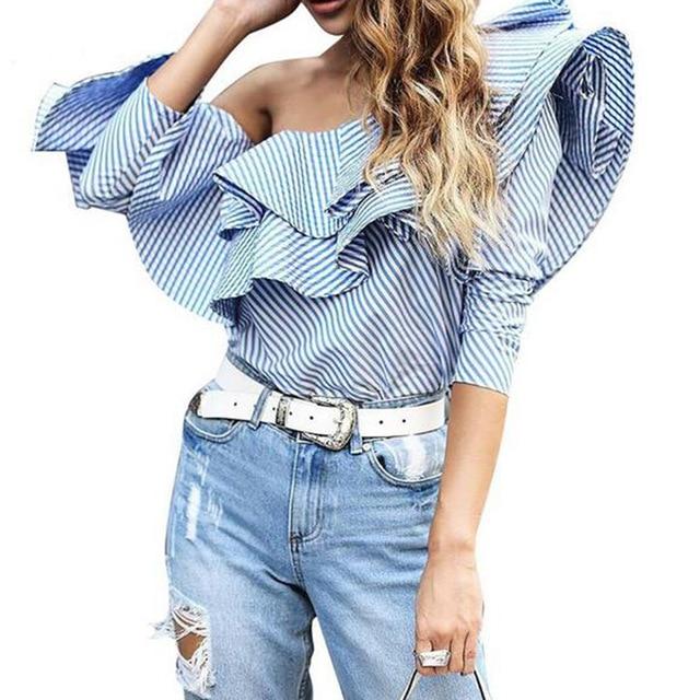 Um Fora Do Ombro Babados Camisa Blusa Mulheres 2017 Queda Sexy Camisa azul Listrada manga Comprida Blusa Legal Inverno Blusas Curtas topos