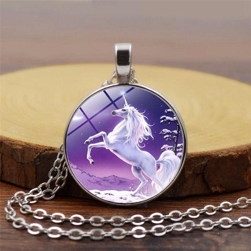 Hot Sale Glass Cabochon Unicorn Pattern Clear/9 Color Unisex Fashion Jewelry Unicorn Women Necklace Trendy Animal Party Jewelry