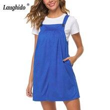 Laughido Blue Tank Dress Cotton Casual Women Vestidos Pocket Sleeveless Loose Sundress Students Summer Robe Vintage